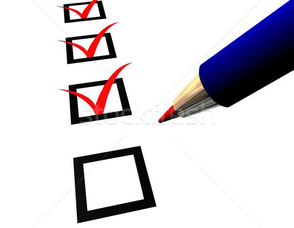 Stylo questionnaire bleu blanche papier livre Photo stock © limbi007