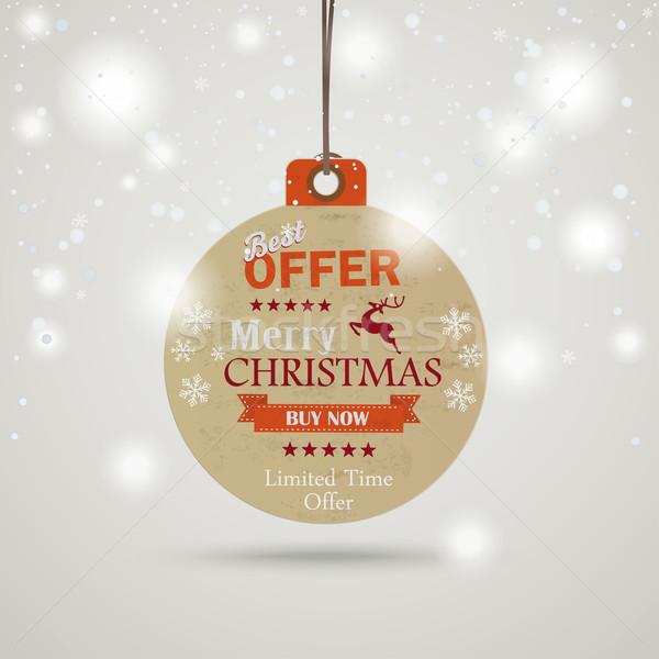 Christmas Bauble Price Sticker Snow Stock photo © limbi007