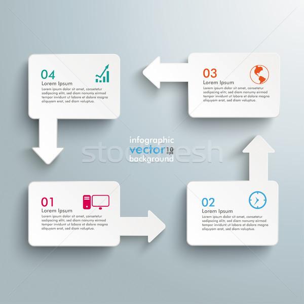 Rectángulo flechas ciclo opciones infografía blanco Foto stock © limbi007