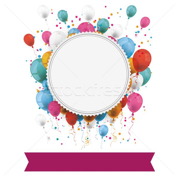 Papel emblema globos confeti banner blanco Foto stock © limbi007