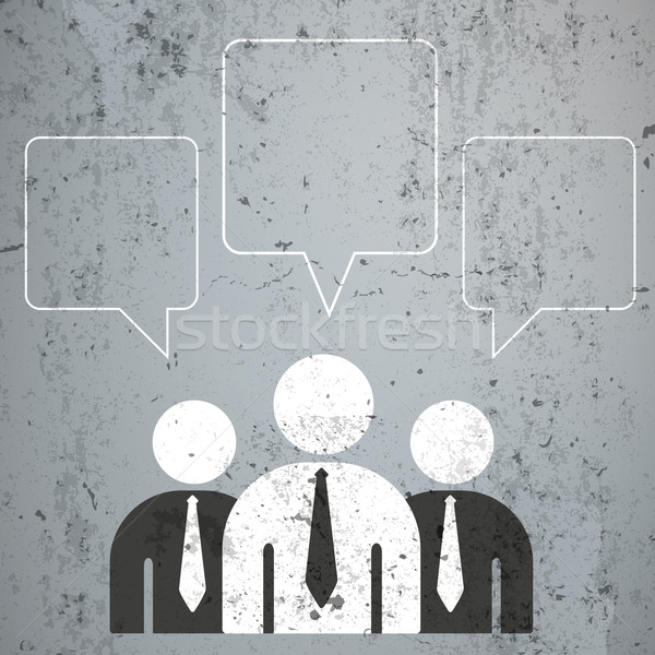 3 Businessmen Quadratic Speech Bubbles Stock photo © limbi007