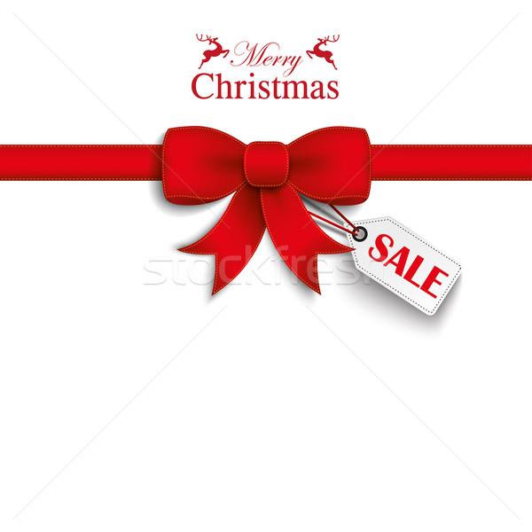 Red Ribbon Christmas Sale Shopmark Stock photo © limbi007
