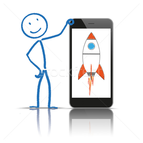 Smartphone raket witte eps 10 vector Stockfoto © limbi007