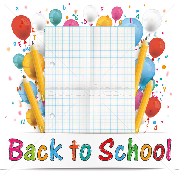 Banner Balloons Letters Folded Paper Back To School Stock photo © limbi007
