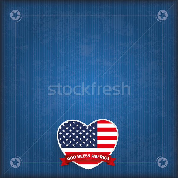 Vintage USA Heart God Bless America Stock photo © limbi007