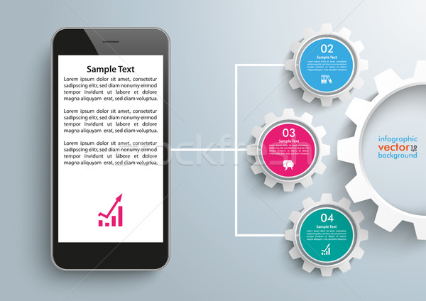 Smartphone Network Symbol Infographic 3 Gears Stock photo © limbi007