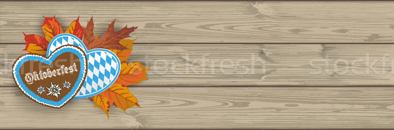 Oktoberfest Header Hearts Foliage Wooden PlanksSH Stock photo © limbi007
