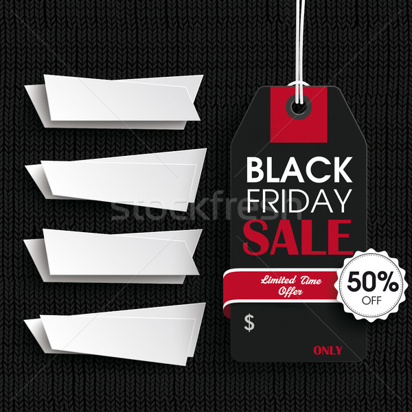 Black Knitting Fabric Black Friday Price Sticker 4 Banners Stock photo © limbi007