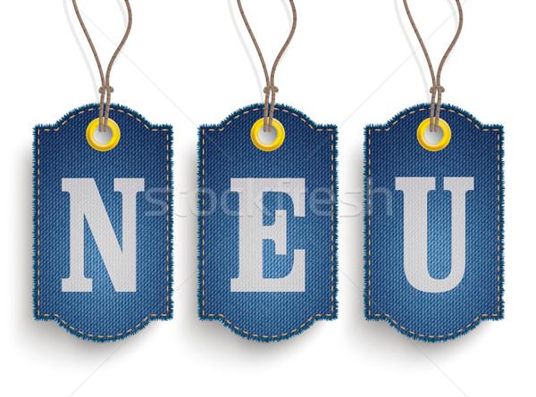 4 Classic Frayed Neu Jeans Price Stickers Stock photo © limbi007