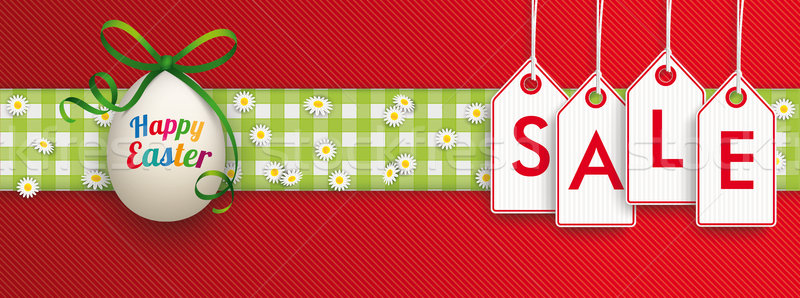 Easter Egg Cloth Hanging Price Stickers Sale Header Stock photo © limbi007