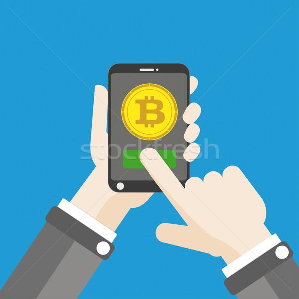 Hand Smartphone Bitcoin Click Flat Stock photo © limbi007