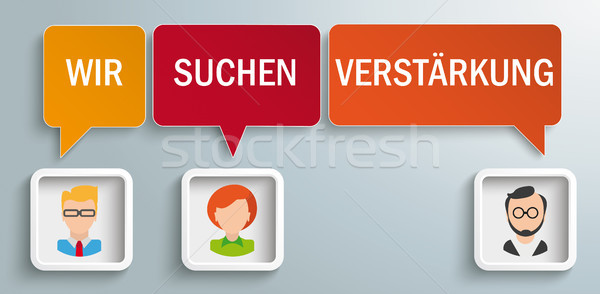 3 Speech Balloons Frames Humans Wir Suchen Verstaerkung Stock photo © limbi007