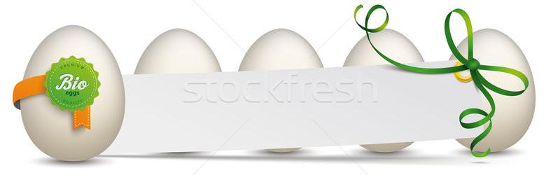 5 Eggs Bio Label Paper Sticker Stock photo © limbi007