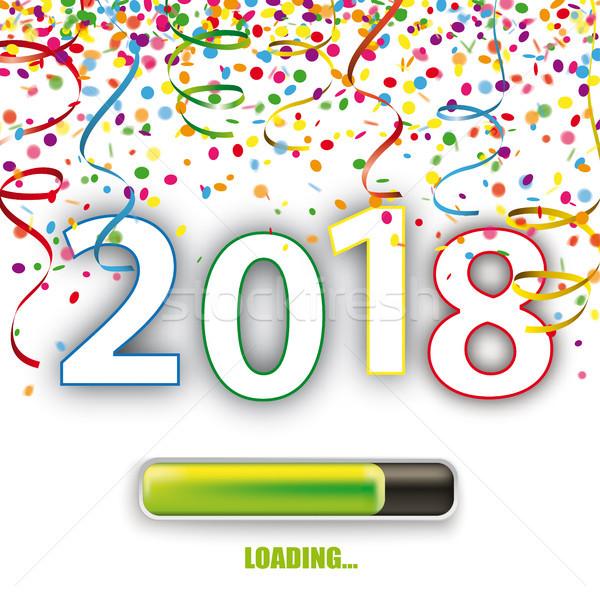 2018 Loading Silvester Confetti Ribbons Stock photo © limbi007