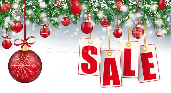 Christmas Sale Header Twigs Snow Baubles Golden Price Stickers Stock photo © limbi007