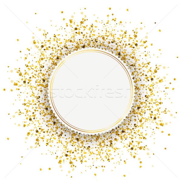 Emblema dourado partículas confete branco eps Foto stock © limbi007