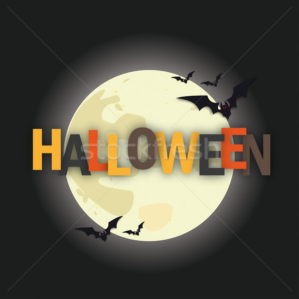 Halloween pleine lune texte eps 10 vecteur Photo stock © limbi007
