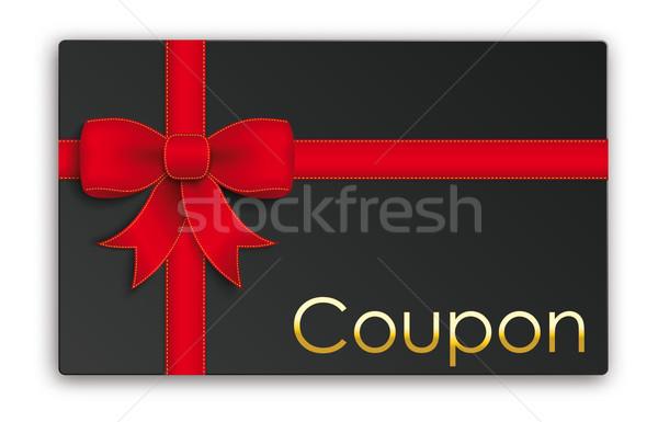 Zwarte bon kaart gouden tekst eps Stockfoto © limbi007