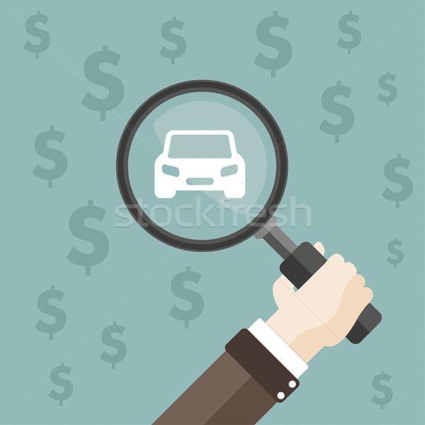 Flat Hand Loupe Car Dollars Stock photo © limbi007