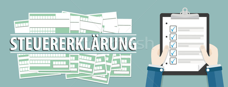 Hand Clipboard Checklist Steuererklärung Header Stock photo © limbi007