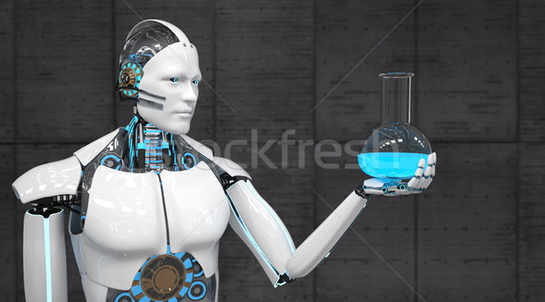 Witte robot reageerbuis beton 3d illustration Stockfoto © limbi007