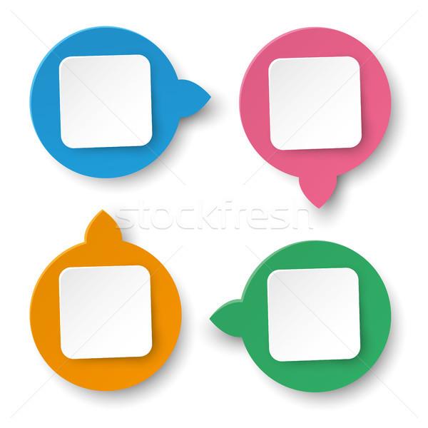 Four Info Labels Circle Rectangle Stock photo © limbi007