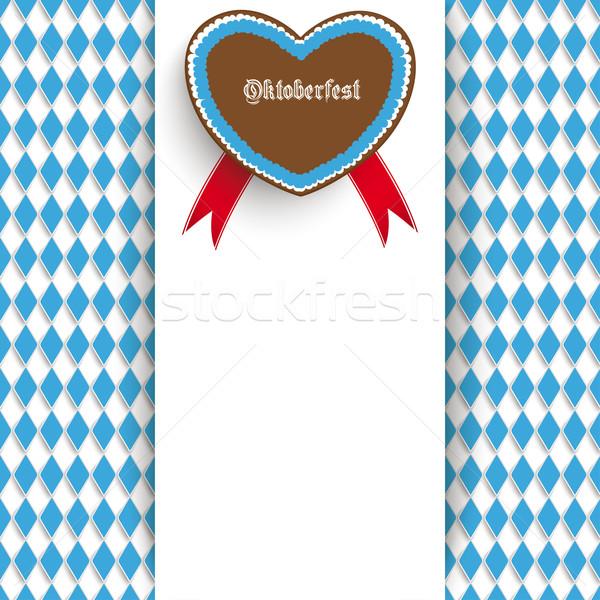 Oktoberfest szórólap centrum szív terv fehér Stock fotó © limbi007