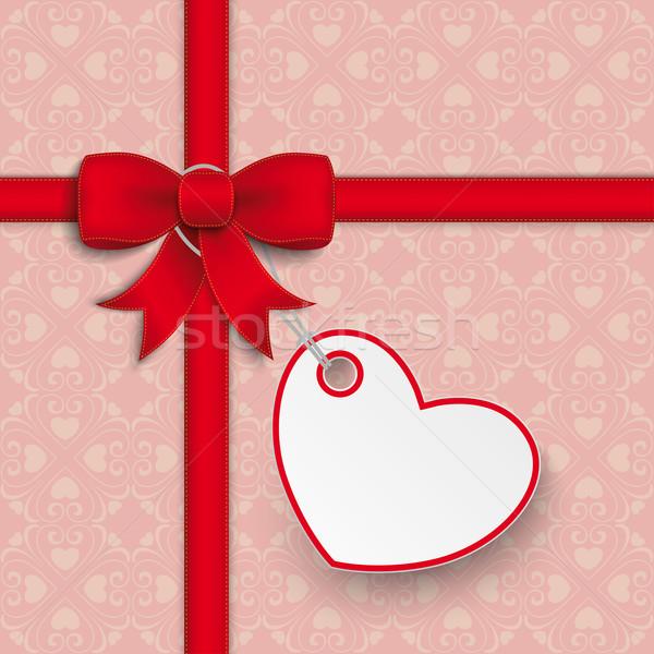Red Ribbon Ash Heart Ornaments Stock photo © limbi007
