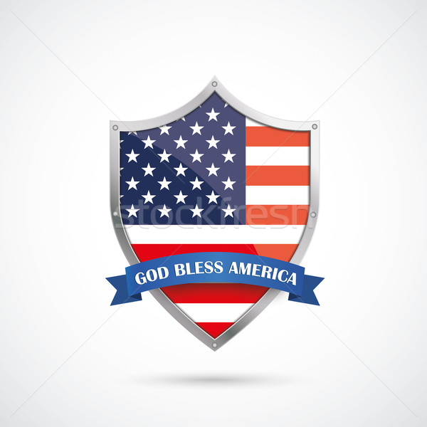 4th July Silver Protection Shield US Flag Stock photo © limbi007