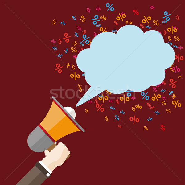 Flat Hand Bullhorn Speech Bubble Percents Stock photo © limbi007