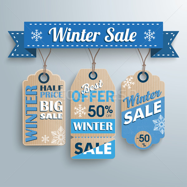 3 Price Sticker Winter Sale Ribbon Stock photo © limbi007