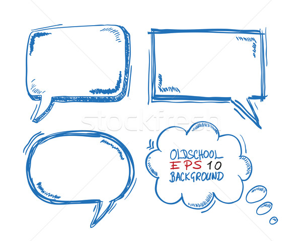4 Oldschool Speech and Thought Bubbles Stock photo © limbi007