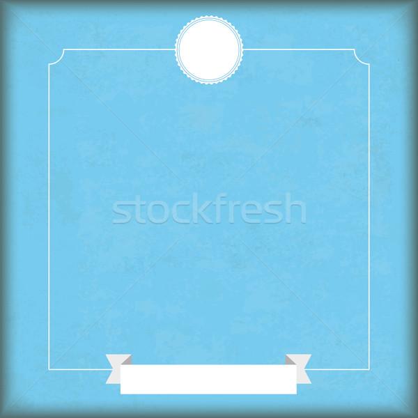 Vintage синий cyan охватывать белый эмблема Сток-фото © limbi007