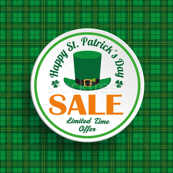 St Patricks Day Hat Sale Circle Tartan Stock photo © limbi007