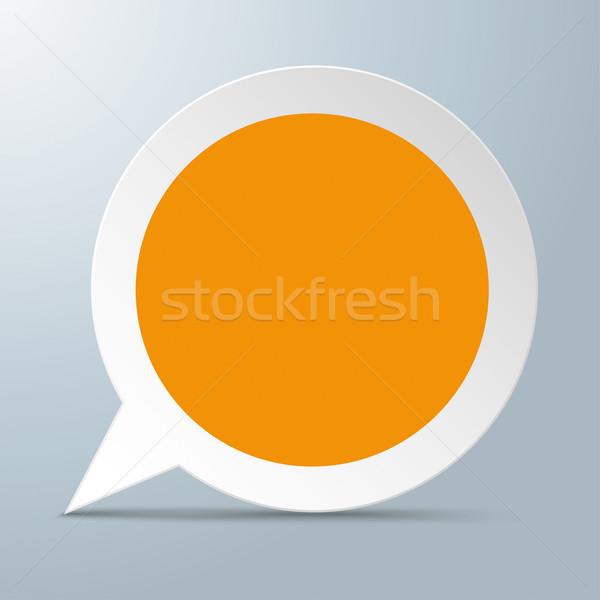 Konuşma balonu turuncu merkez beyaz gri eps Stok fotoğraf © limbi007