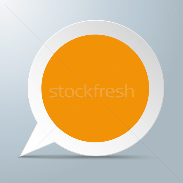 Tekstballon oranje centrum witte grijs eps Stockfoto © limbi007