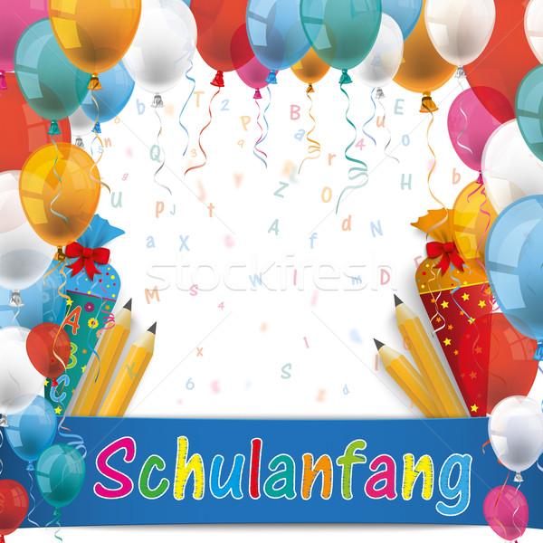 шаров конфеты карандашей письма текста Снова в школу Сток-фото © limbi007