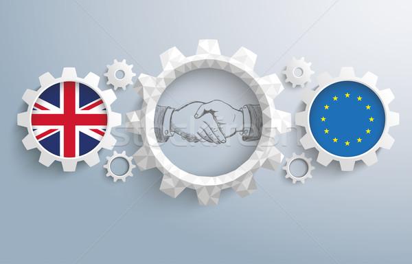 UK EU Partnership Gears Handshake Stock photo © limbi007