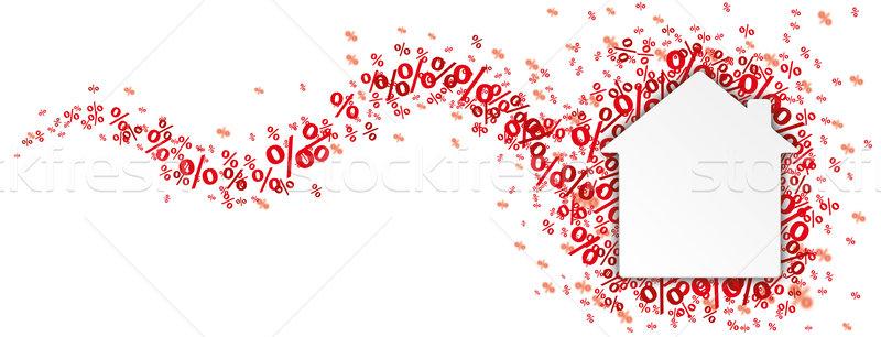 Ház piros por fejléc papír fehér Stock fotó © limbi007