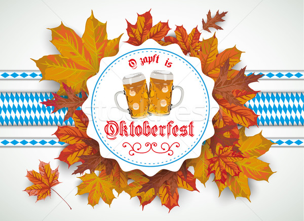 Oktoberfest Emblem Beer Foliage Stock photo © limbi007