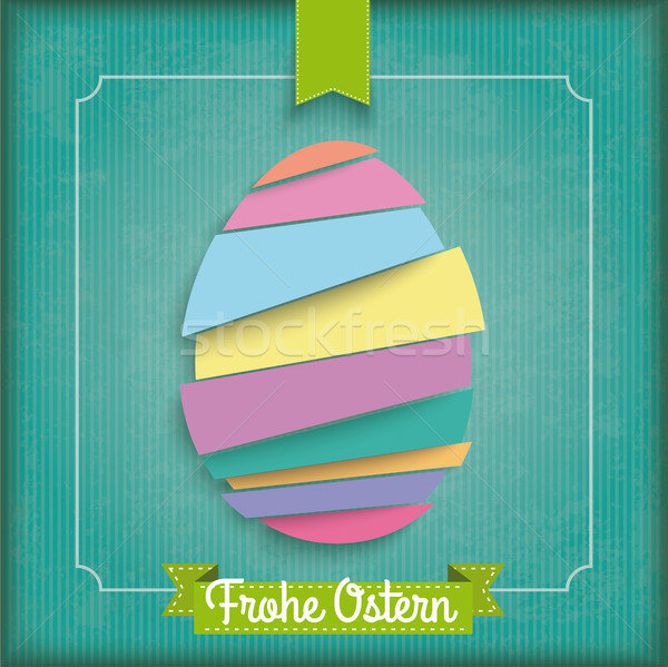 Abstract Cutting Easter Egg Vintage Frame Ostern Stock photo © limbi007