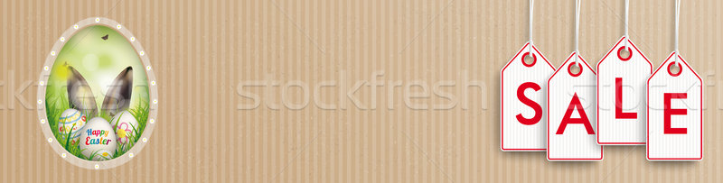 Cardboard Easter Egg Sale Price Stickers Header Stock photo © limbi007