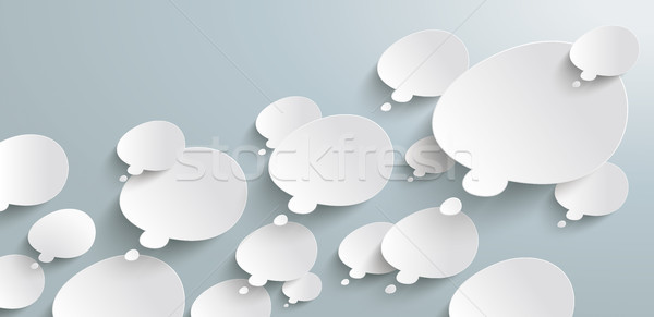 Bevel Thought Bubbles Header Infographic Stock photo © limbi007