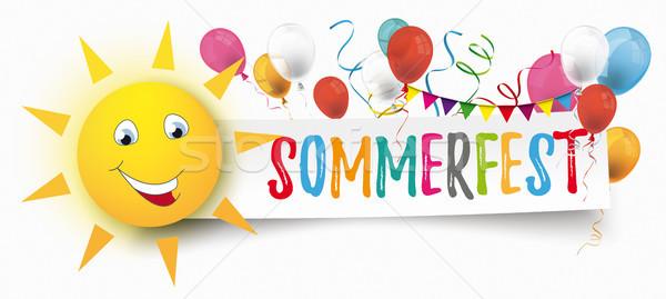 Paper Banner Balloons Buntings Funny Sun Face Sommerfest Stock photo © limbi007