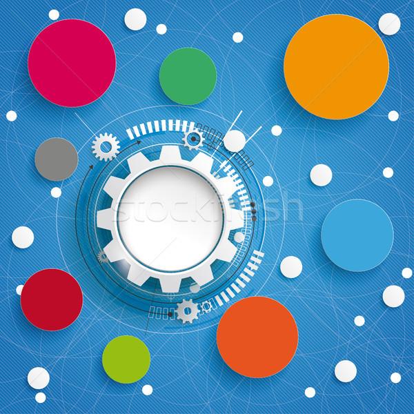 Gear Wheel Circle Molecule Networks Blue Sky Stock photo © limbi007
