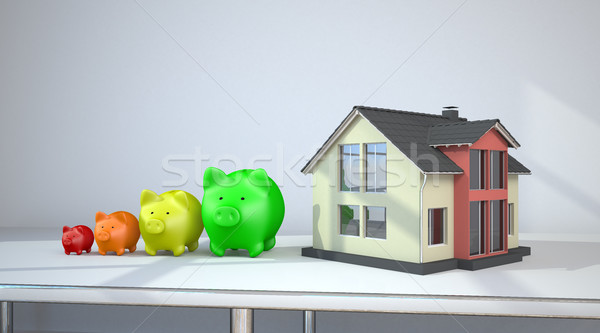 House Piggy Banks Growth Chart Room Stock photo © limbi007