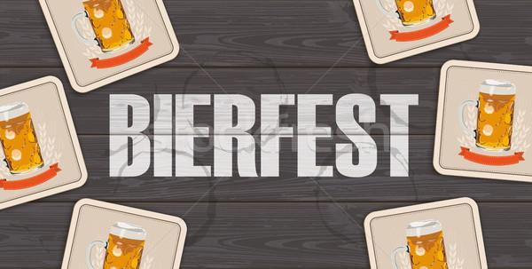 Dark Wooden Background Beer Coasters Bierfest Centre Stock photo © limbi007