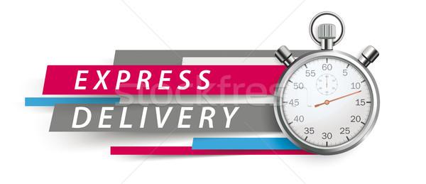 Expressz szállítás stopperóra színes papír vonalak fehér Stock fotó © limbi007