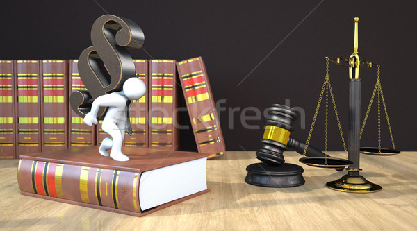 Parágrafo gabela saldo mesa de madeira lei livros Foto stock © limbi007