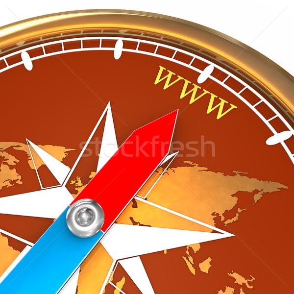 Kompas www gouden tekst witte internet Stockfoto © limbi007